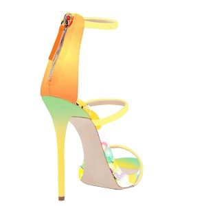 Yellow 4 Inches Heels Floral Open Toe Stilettos Sandals by FSJ