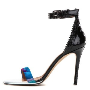 Women's Black Open Toe Stiletto Heels Zigzag Ankle Strap Sandals