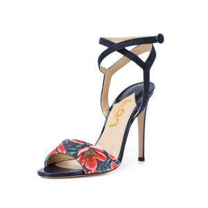 Floral Heels Ankle Strap Open Toe Stiletto Heels Sandals