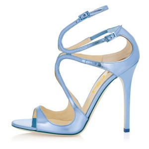 Blue Strappy Sandals Open Toe Mirror Leather Stiletto Heels for Prom