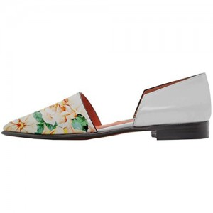 Floral-print Comfortable Pointed Toe Slip-on Flats D'orsay Pumps Easy-walking Shoes