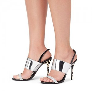 Silver Slingback Heels Open Toe Mirror Leather Stiletto Heel Sandals