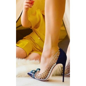 Women's Navy Pointed Toe Clear Rivets Stiletto 4 Inch Heels Pumps