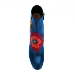 Women's Blue Round Toe Chunky Heels with Zipper Floral Shoes