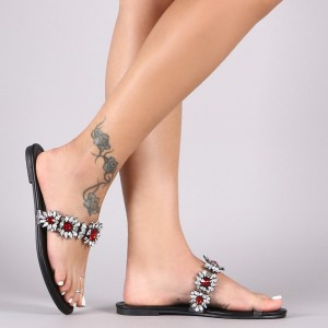 Flip-Flops Comfortable Flats Red Rhinestones Sandals Clear Shoes