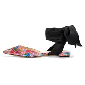 Floral Flat Sandals Patent Leather Strappy Slingback Shoes