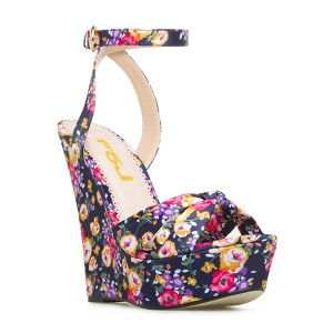 Floral Heels Ankle Strap Wedge Sandals with Platform