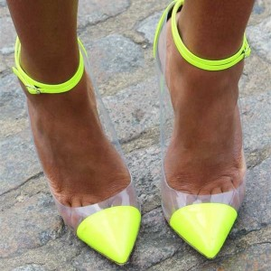 Fluorescence Clear Heels Ankle Strap Stiletto Heel Pumps