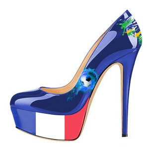 France Design Platform Heels Stiletto Heels Pumps for Soccer Fans