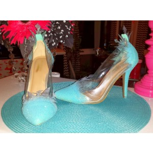 Frozen Elsa's Blue Glitter Shoes Pointy Toe Stiletto Heel Pumps for Halloween