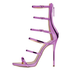 FSJ Light Purple Mirror Leather Stiletto Heels Open Toe Vegan Sandals