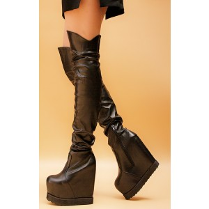 FSJ Shoes Black Long Boots Wedge Heels Knee High Boots For Women