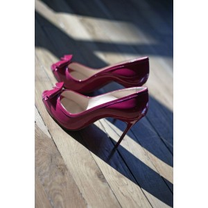 Women's Fuchsia Stiletto Heels Dress Shoes Cute Bows Peep Toe Pumps