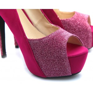 2018 Fuchsia Peep Toe Heels Suede Platform Pumps High Heels Shoes