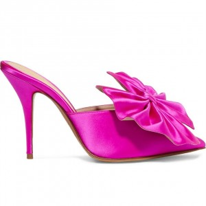 Hot Pink Satin Bow Heels Pointy Toe Stiletto Heels Mule