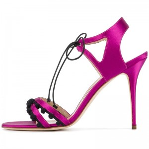 Fuchsia Satin Lace Up Stiletto Heels Sandals