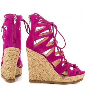 Fuchsia Wedge Sandals Vegan Suede Peep Toe Lace up Platform Wedges