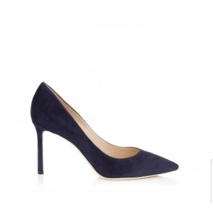 Custom Made Navy Suede Pointy Toe Pumps