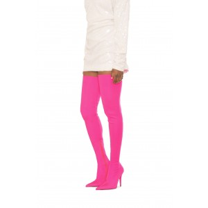 Pink Thigh High Heel Boots Pointy Toe Stiletto Heel Shoes