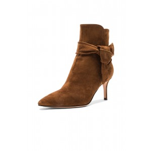 Women's Brown Bow Pointed Toe Soft Suede Stiletto Heel Vintage Boots