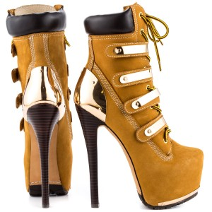 Women's Mustard Buckle Lace Up Platform Boots Stripper stiletto heels