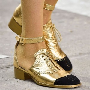 Women's Golden Glitter Shoes Ankle Strap Buckle Black Lace Block Heels