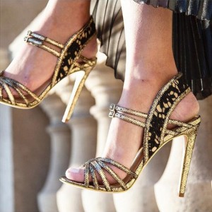 Gold and Black Lace Evening Shoes Buckles Slingback Heels Sandals