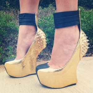 Gold and Black Rivets Closed Toe Wedges Ankle Wrapped Platform Pumps