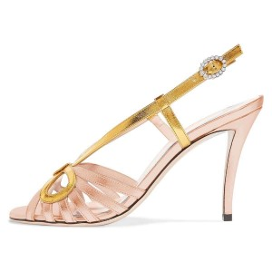 Gold and Champagne Slingback Heels Sandals