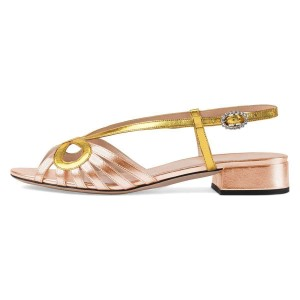 Gold and Champagne Slingback Low Heel Chunky Heel Sandals