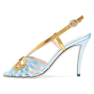 Gold and Light Blue Slingback Heels Sandals