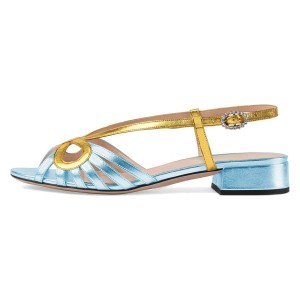 Gold and Light Blue Slingback Low Heel Chunky Heel Sandals