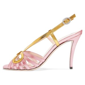 Gold and Pink Slingback Heels Sandals