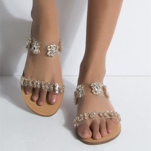 Gold Rhinestone Women's Slide Sandals Summer Jewelry Sandals