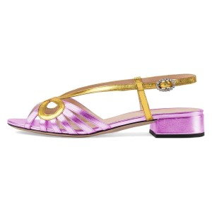 Gold and Violet Slingback Low Heel Chunky Heel Sandals