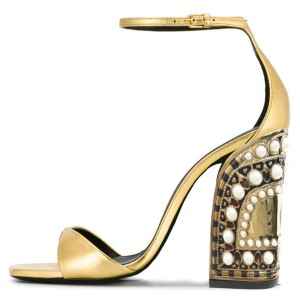 Gold Ankle Strap Heels Pearl Chunky Heel Sandals