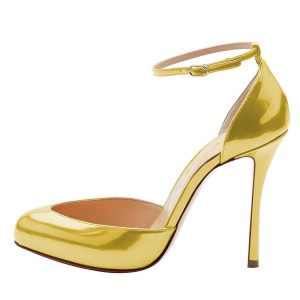 Gold Ankle Strap Heels Pumps