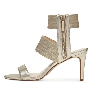 Champagne Ankle Strap Stiletto Heel Sandals for Women