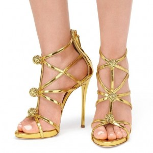 Gold Bling Evening Shoes Stiletto Heels Wedding Sandals with Ball