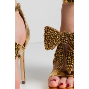 Gold Bridal Sandals Rhinestone Bow Stiletto Heel Ankle Strap Sandals