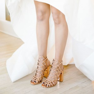 Gold Caged Evening Shoes Hollow out Chunky Heels Wedding Sandals