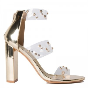 Gold Clear Chunky Heel Sandals Transparent Sandals white Rhinestone