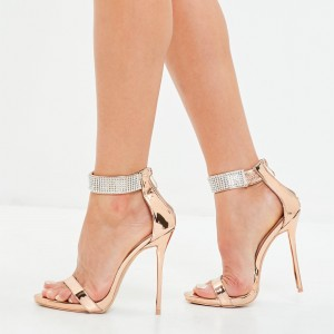 Gold Rhinestone Stiletto Heels Open Toe Sandals Prom Shoes
