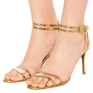 Gold Clear PVC Ankle Strap Heels Sandals
