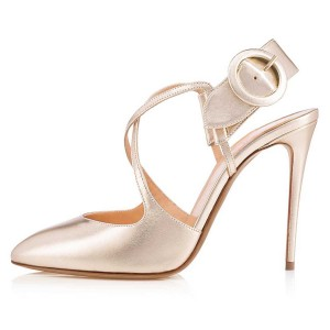 Champagne Cross Over Slingback Heels Buckle Pumps