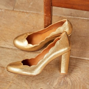 Gold Curve Chunky Heels Almond Toe Pumps
