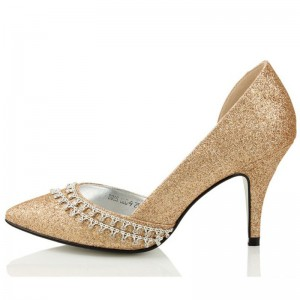Gold D'orsay Pumps Glitter Shoes Rhinestone Stilettos Pointy Toe Pumps