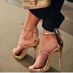 Gold Evening Shoes Stiletto Heel Strappy Sandals for Party