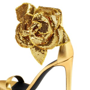 Gold Flower Embellished Evening Shoes Ankle Strap Sandals
