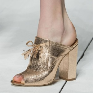 Gold Fringe Peep Toe Chunky Heels Mules with Tassles
